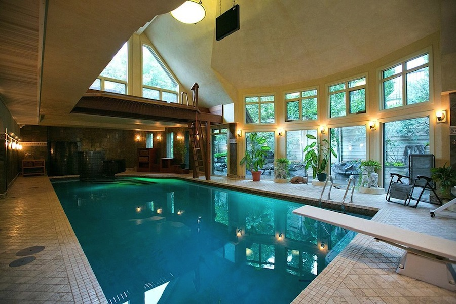 Mansion with indoor pool with diving board  Calgary Chalet – $8,500,000 | Pricey Pads