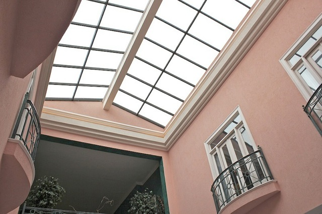 Atrium Garage with balconies from both guest houses