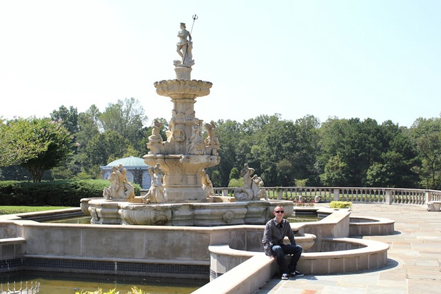 Sitting by fountain